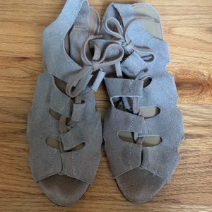 Deena & Ozzy gray suede sandals.